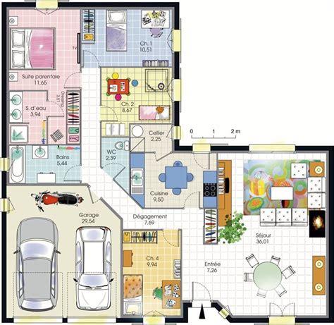 maison plain pied 4 chambres plan maison 4 chambres plain pied plans maisons
