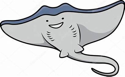 Stingray Cartoon Fish Illustration Vector Depositphotos