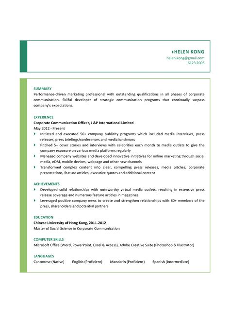 corporate communications resume sle corporate communication officer cv ctgoodjobs powered by