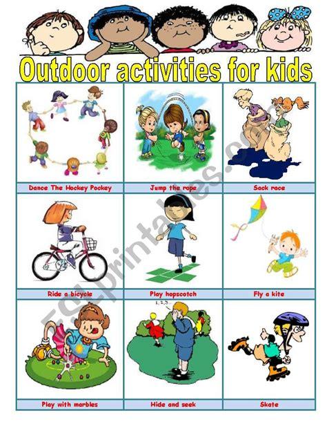 outdoor activities  kids esl worksheet  ivettemoreno