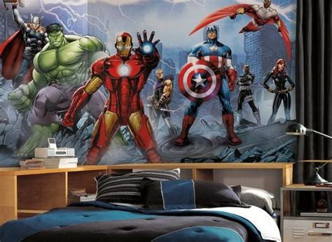 Cool Marvel Wall Murals For Contemporary Kids Bedroom