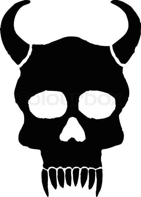 monster skull  horns  big teeth stock vector