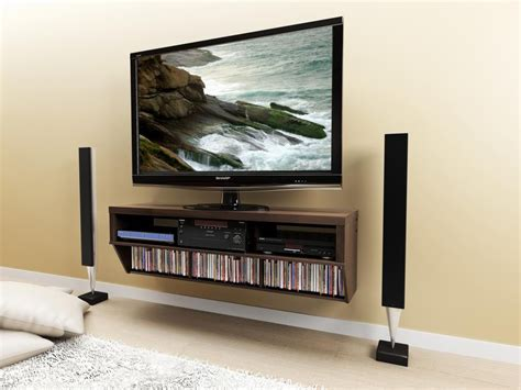 Brown Wall Mounted Media Shelf And Tv Stand Decofurnish