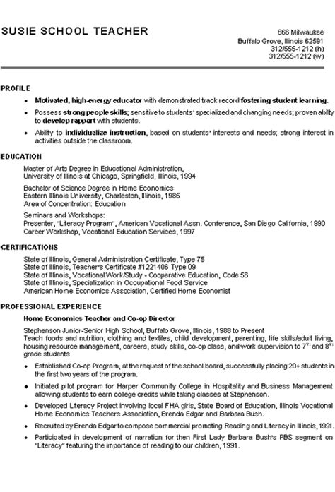 Student Teaching Experience On Resume by Home Economics Resume Exle