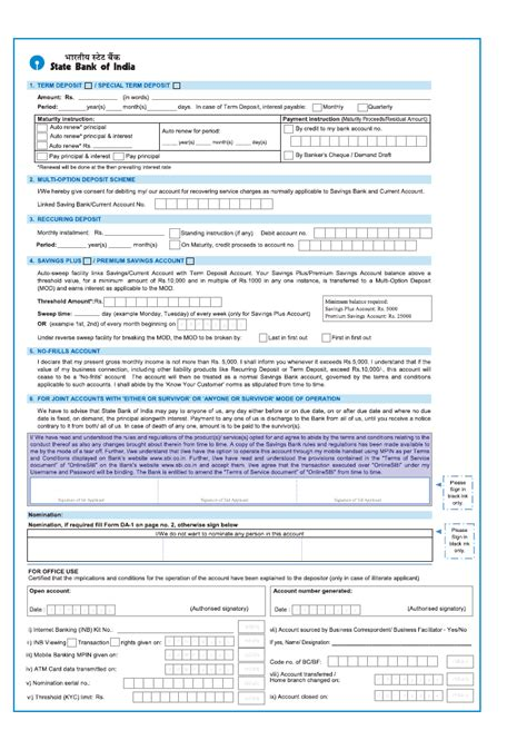 application form   sbi banking knowledge