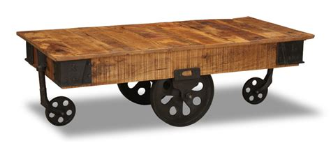 Industrial Iron Wheel Coffee Table  Trade Furniture Company™