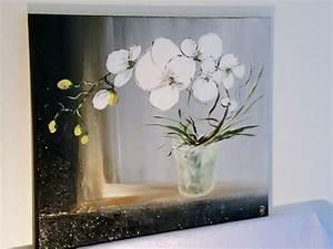Toile Blanche A Peindre : tableau orchid e blanche peinture acrylique reserve ~ Premium-room.com Idées de Décoration