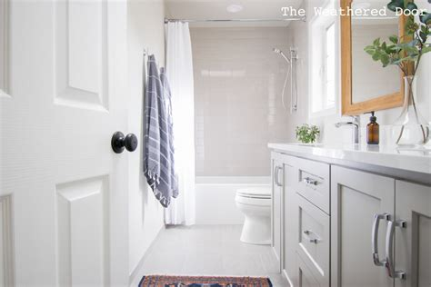 Vanity Guest List by Gray And White Guest Bathroom Reveal The Weathered Door