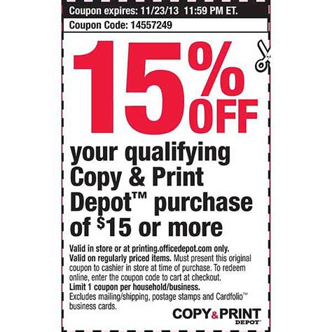 Office Depot Coupons For Printer by Office Depot 15 Copy Print Printable Coupon