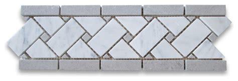carrara white marble basketweave mosaic border gray dots