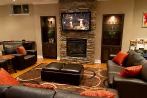 Image of: 13 Decorative Living Room Layout Fireplace Tv Basement Design Ideas For Family Room