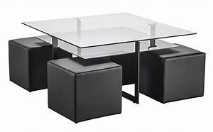Table Basse 4 Poufs : table basse 4 poufs solo noir ~ Teatrodelosmanantiales.com Idées de Décoration