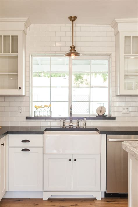 kitchen sink window ideas farmhouse sink with overhead pendant light by