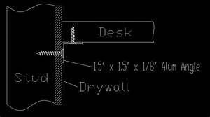 wood - How is a floating desk top supported against the
