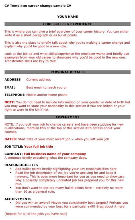 free cv template career change sle cv for pdf