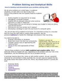 problem solving skills in resume problem solving and analytical skills