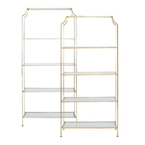 Glass Shelf Etagere by Worlds Away Gold Leafed Etagere With Clear Glass Shelves