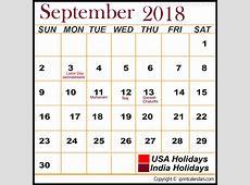 September 2018 Calendar Holidays Calendar Template Printable