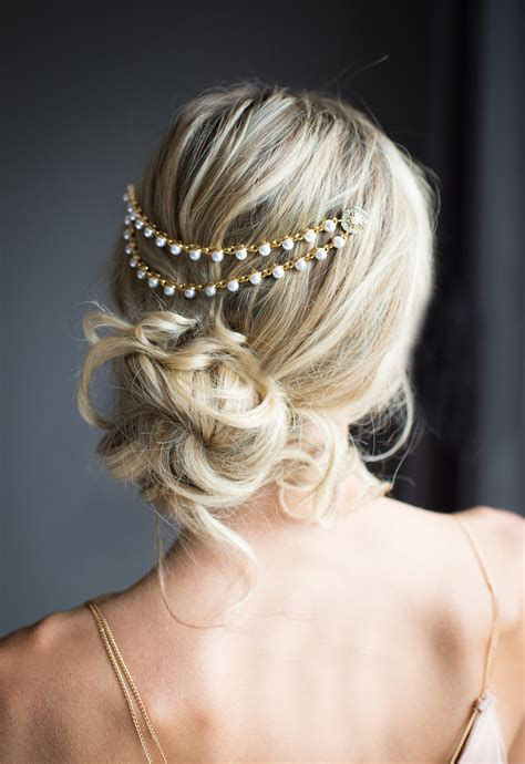Wedding Hair by Gold Pearl Bridal Hair Chain Wedding Hair Wrap By