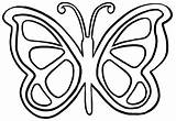 Butterfly Coloring Simple Printable Drawing Easy Wings Sheets Template Shape Mosaic Outline sketch template