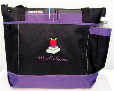 shipping personalized teacher tote bag apple books