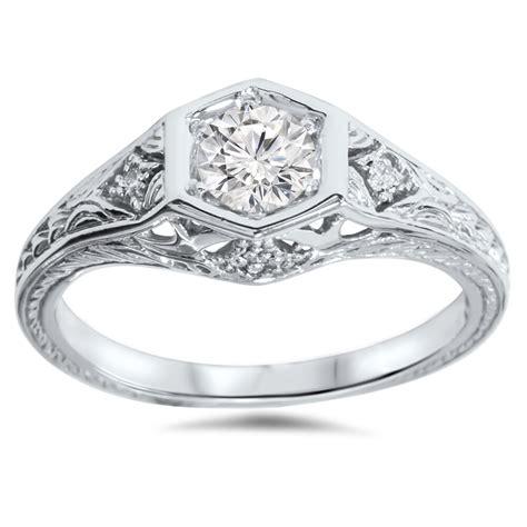 3 8ct art deco diamond engagement ring 14k white gold ebay