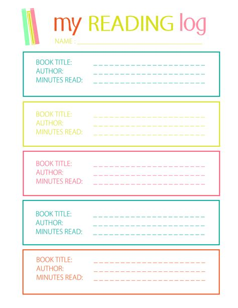 printable reading log for elementary student