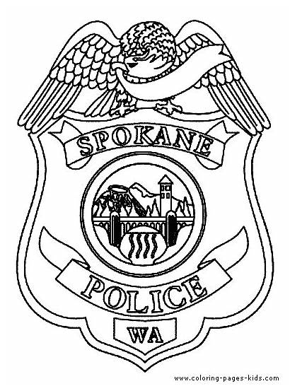 Coloring Pages Police Jobs Badge Printable Sheet