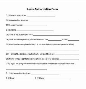 Free 5  Sample Leave Authorization Form Templates In Pdf