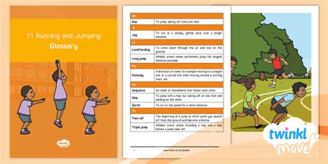* New * Twinkl Move Pe  Y1 Running And Jumping Cpd Glossary
