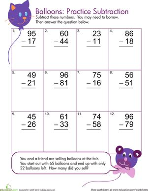 1st grade math worksheet subtraction with regrouping two digit subtraction with borrowing education