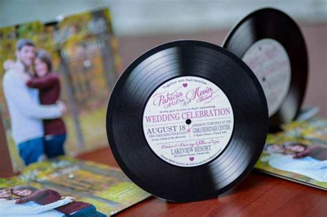 custom vinyl record  wedding invitations