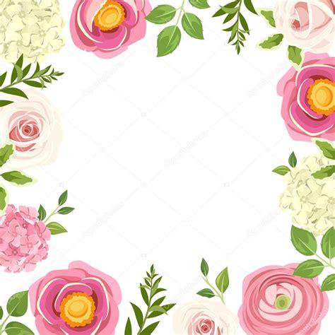 cornici con fiori cornice con fiori rosa illustrazione di vettore