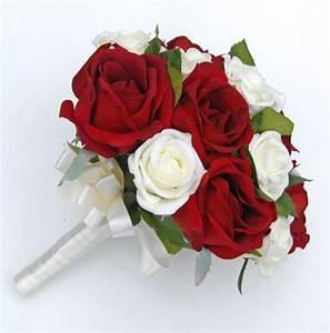 Brides Silk Red & Ivory Foam Rose Wedding Bouquet - Sarah