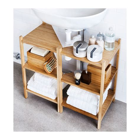 ikea r 197 grund sink shelf corner shelf bamboo bath storage