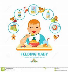 Feeding Baby Pictorial Guide Flat Poster Stock Vector
