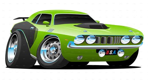 Mean Green Seventies Style Muscle Car Cartoon By