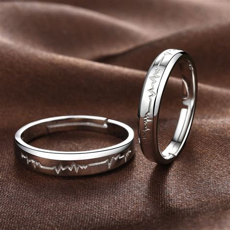 size 5 wedding rings 925 silver heartbeat opening creative engraved