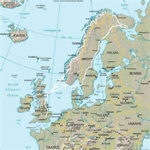 Map of Norway Sweden Finland and Russia