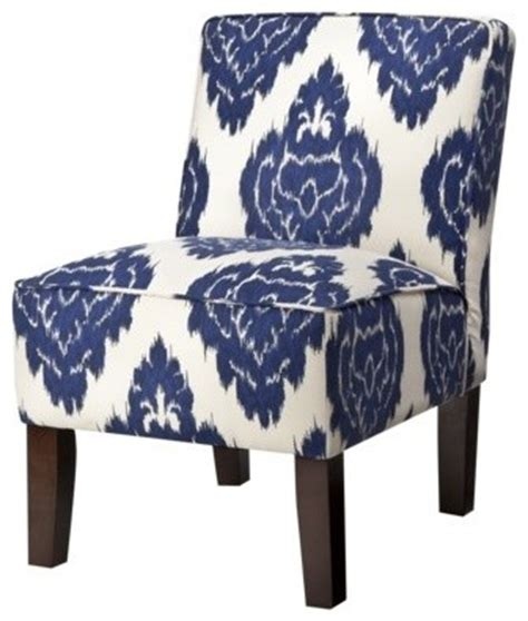 armless upholstered slipper chair abstract blue floral