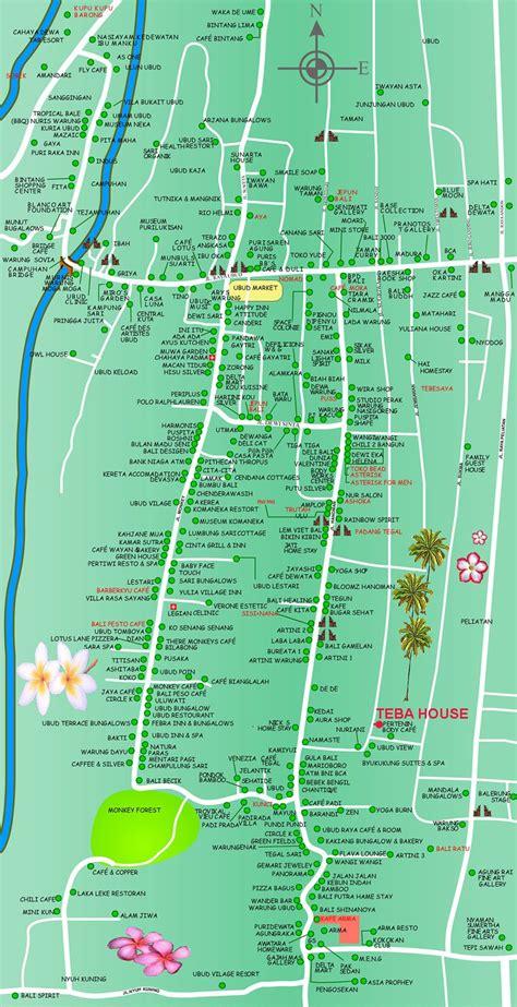 ubud hotel map travel indonesia bali pinterest