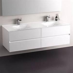 pack promo meuble glass 150 blanc mitigeurs miroir With meuble de salle de bain design promo