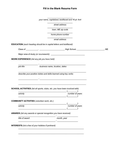 Resume Blank Space by Blank Resume Template For High School Students Http