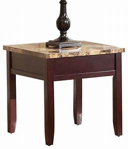 homelegance orton faux marble top end table in rich cherry With granite coffee table and end tables