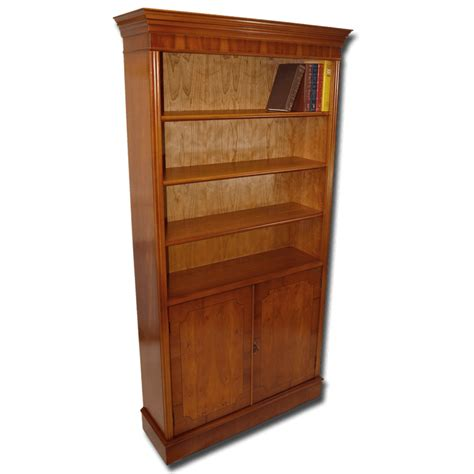 Bookcase With Cupboard Base by Reproduction 6x3 Open Bookcase With Cupboard Base In Yew