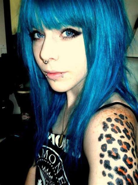Blue Coloured Hair Pretty Girl With A Fierce Literally