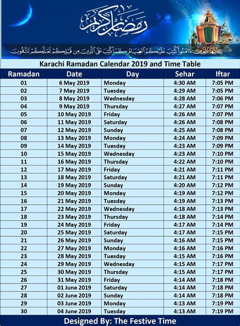 Ramadan 2019 Calendar