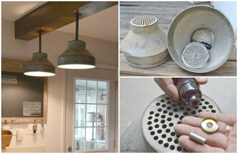 diy galvanized colanders ceiling light tutorial id lights