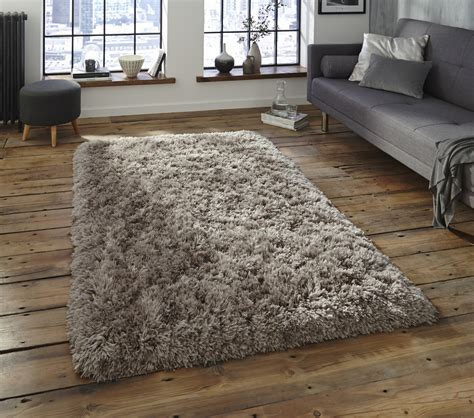 Grey Thick Shaggy 8.5cm Pile Rug Luxurious Hand Tufted 100