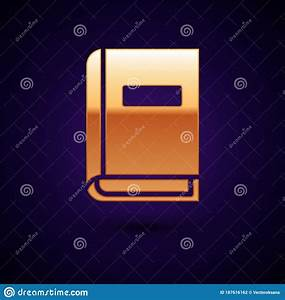 Gold User Manual Icon Isolated On Black Background  User